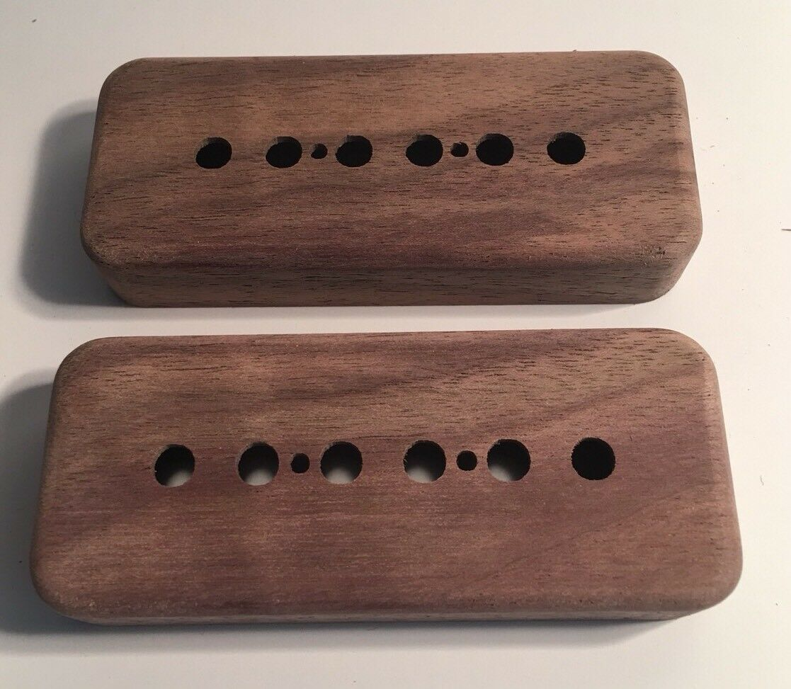 Guilford schwarz Walnut P-90 Pickup Covers - 2 Covers - 52mm 50mm Bare Knuckle