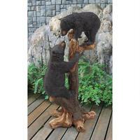 Ky1878 - Climbing Cubs Black Bear Statue - Garden, Yard -