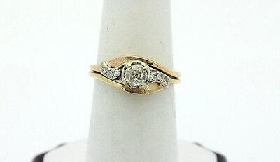 14k Yellow Gold YG .25ct Diamond Swirl Engagement Set Ring Sz 7.75  5g  #1282