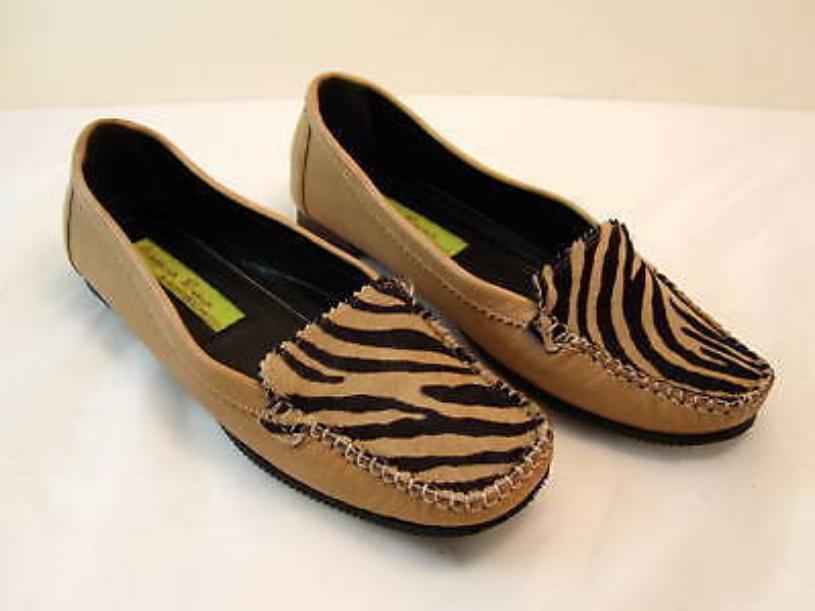 Chaussures femme en cuir Italien Chaussures Mocassins Imprimé Animal Taille 8.5