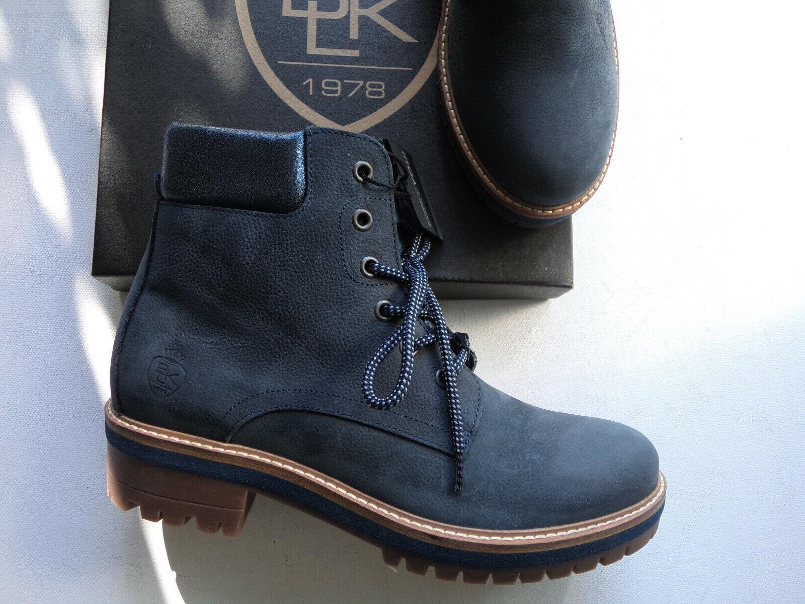 NEU schwarz Stiefel Stiefelette echt Leder dunkelblau  Made in Portugal Größe   41