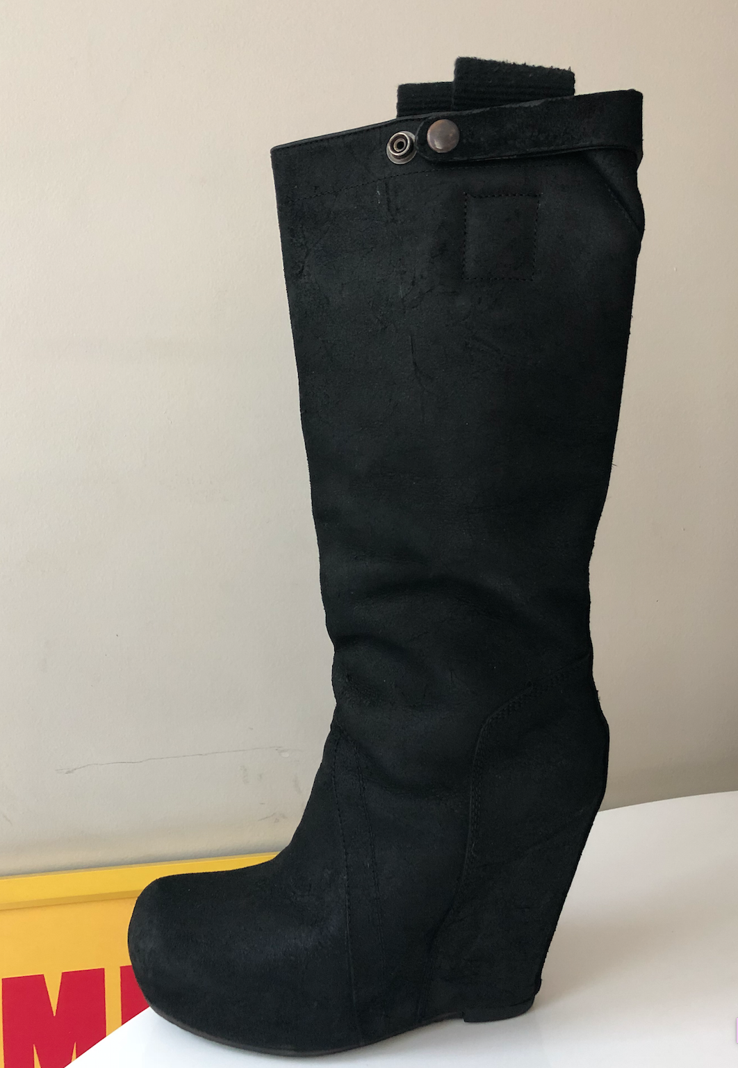 Rick Owens  MADE IN ITALY WOMEN DISTRESSED DISTRESSED DISTRESSED LEATHER HIGH WEDGE BOOTS EU 37 US 7 17acca