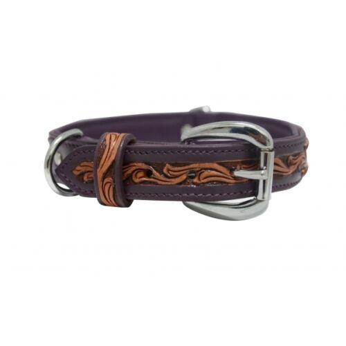 "Size 16/"" 26/"" Handmade Padded Wide Angel Elite Genuine Leather Dog Collar"