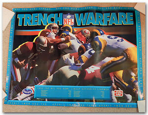 TRENCH-WARFARE-1992-NFL-PRO-BOWL-OFFENSIVE-LINEMEN-LINE-UP-POSTER-W-49ERS-RAMS