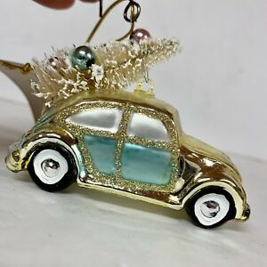 Details About Nwt Volkswagen Beetle Car With Tree Gl Christmas Ornament Holiday Vw Bug