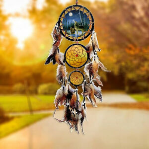 Native-American-Dream-Catcher-Wolf-Wall-Hanging-Home-Decor-Ornament-Feather-Gift