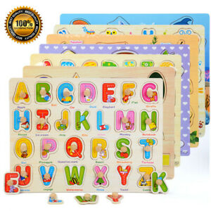 Wooden-Puzzle-Baby-Kids-Toddler-Jigsaw-Alphabet-Letters-Animal-DIY-Learning-Toys