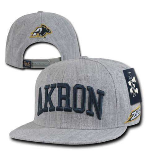 Heather Gray University Akron UA Zips NCAA Flat Bill Snapback Baseball Cap Hat