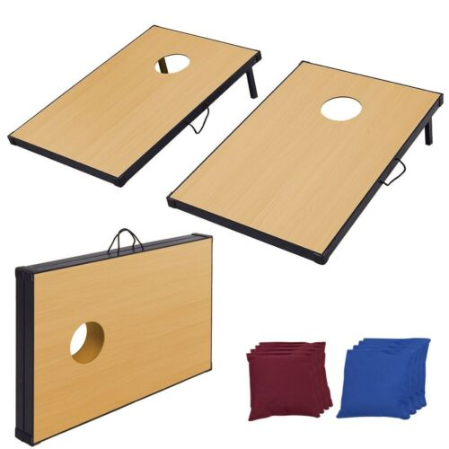 """Foldable 35/"""" Wooden Bean Bag Toss Cornhole Game Set of 2 Boards and 8 Beanbags"""