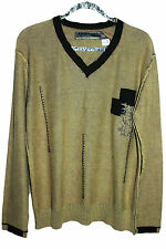 TOUGH JEANSMITH MENS SWEATER KHAKI COTTON V-NECK  SIZE L