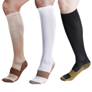Unisex Copper Infused Compression Socks 20-30mmHg Graduated Support Men's  S-XXL