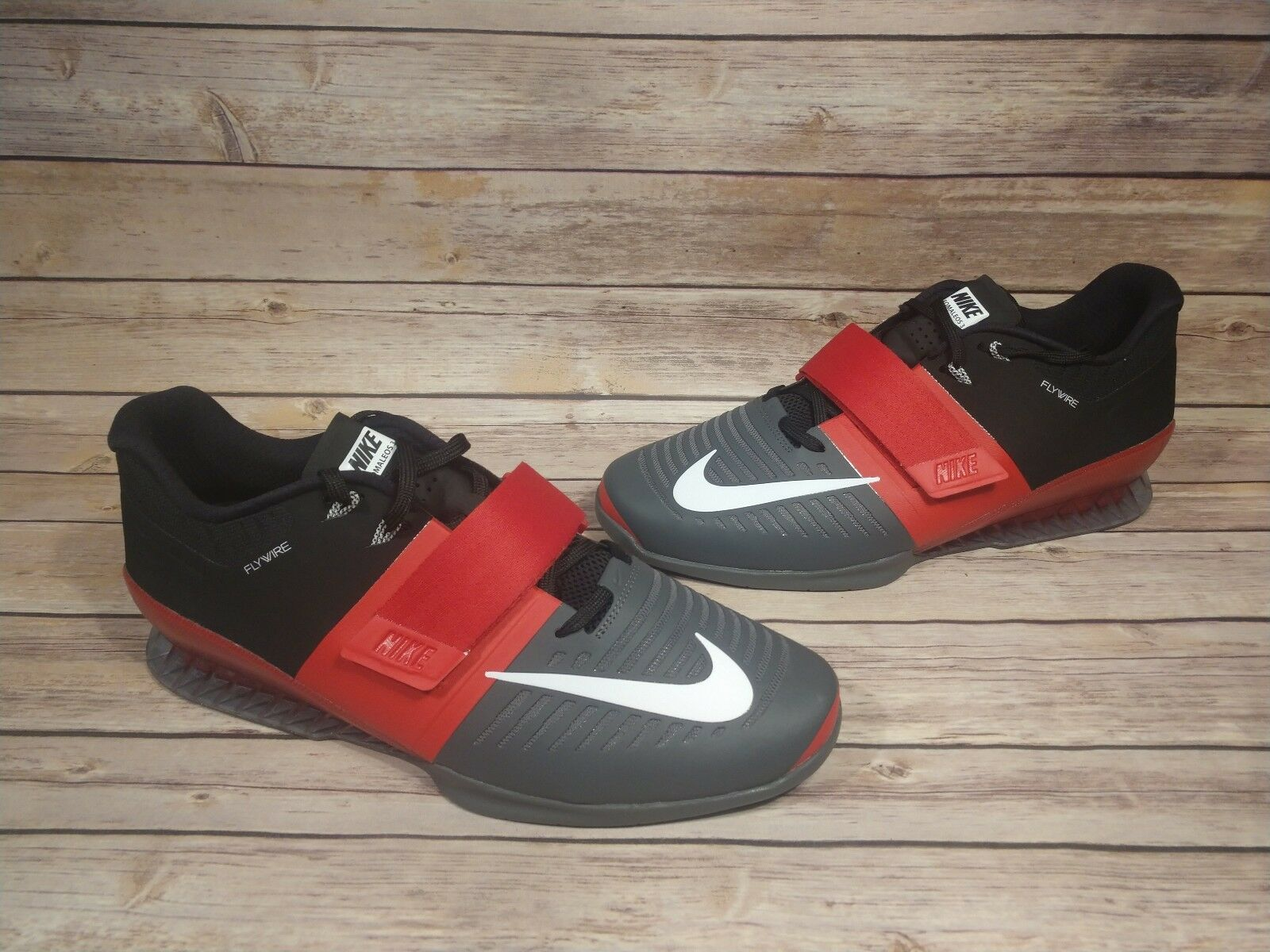 competitive price e8d51 1cd3b Mens Nike Romaleos 3 Black Black Black Red Crossfit Weightlifting Shoes  852933 600 Size 15 d601e2