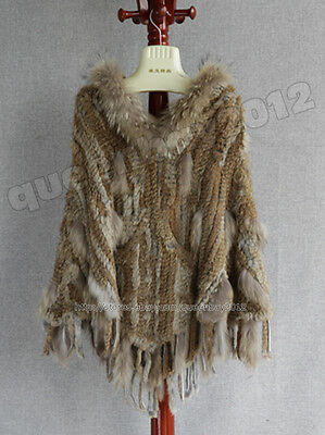 Queenshiny Womens Knitted Wool and Rabbit Fur Cape Poncho with Hood