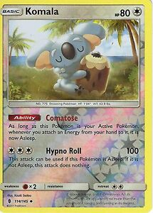 POKEMON-SUN-amp-MOON-GUARDIANS-RISING-CARD-KOMALA-114-145-REVERSE-HOLO