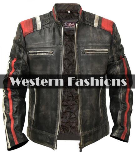 Men/'s Biker Vintage Motorcycle Cafe Racer Retro 3 Moto Distressed Leather Jacket