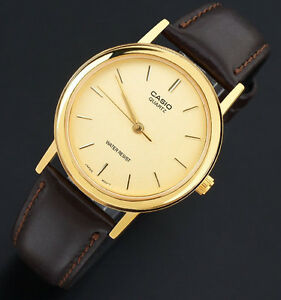 Casio-MTP-1095Q-9A-Men-039-s-Analog-Gold-Watch-Brown-Leather-Band-Smooth-Quartz-New