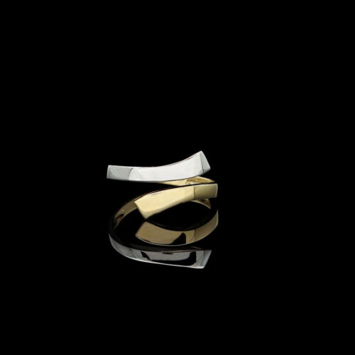 Fancy Wrap Toe Ring Solid 14K Yellow /& White Gold Womens Two-Tone Band