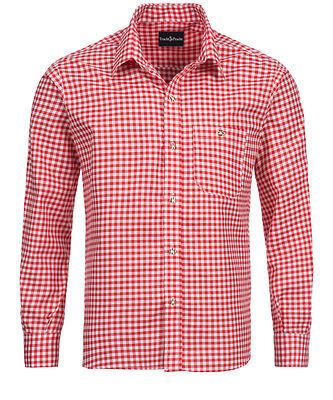 Trachtenhemd Herren - Karo Rot - Baumwolle