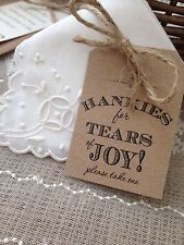 10 x Brown Rustic/Vintage/Shabby Chic 'Hankies for Tears of Joy!' tags