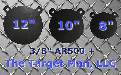 "8"", 10"", 12"" Gong  Shooting Targets BUNDLE SET AR500 3/8"" STEEL~ FREE SHIPPING!"