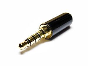 3-5mm-4-polig-Stereo-Klinkenstecker-Kopfhoerer-Klinke-Loetanschluss-Audio-Stecker