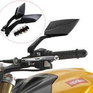 Nero-Coppia-Specchietti-Retrovisori-Specchi-Moto-Scooter-Custom-Regolabile