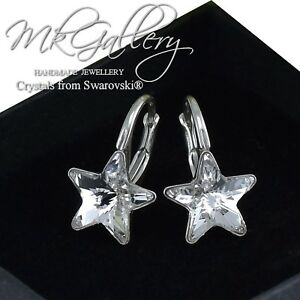 76648ae15 925 Silver Fancy Stone Star Earrings 10mm Crystals from Swarovski ...