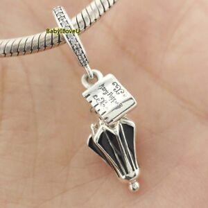 925-Sterling-Silver-Disne-Mary-Poppins-Umbrella-Dangle-Charm-CZ-Black-Enamel