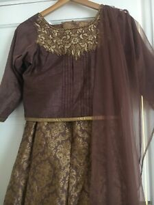 Piece Mocha Long Top Size Two Petite Small Skirt And Brown Lengha aWnUBW