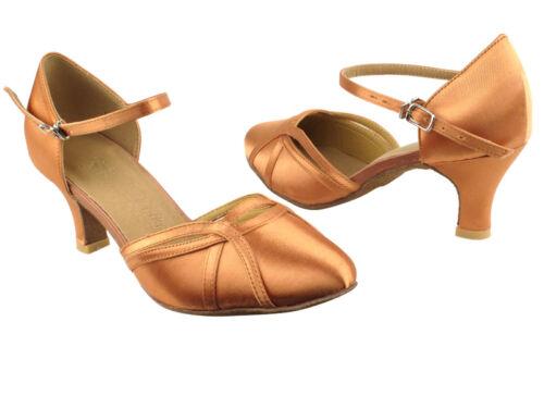 Latin Salsa Ballroom Very Fine Dance Bridal Formal Shoes SERA3540 Satin Tan