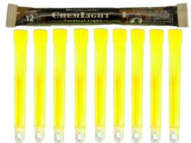 "Cyalume SnapLight Safety Light Glow Sticks 6/"" Long 12 Hr YELLOW  Exp 2022 6 pcs"