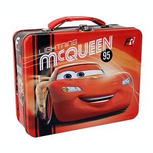 Disney-CARS-LIGHTNING-MCQUEEN-95-FORMULA-RACER-Tin-Lunch-Box-CARRY-ALL-Case-Bag