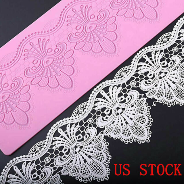 """Novelty Floral Lace Edible Silicone Embossing Mat Texture Cake Pastry Mold 16"""""""