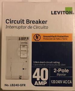 New In Box GFCI 2-Pole 40 Amp Leviton R13-LB240-GFR Branch Circuit Breaker