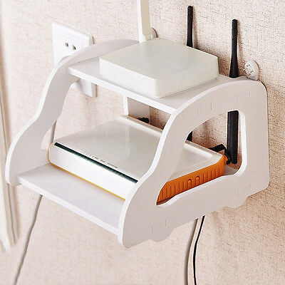 Latest Wall Mount Shelf Creative Car Shape Router Storing Rack Two Layers Holder
