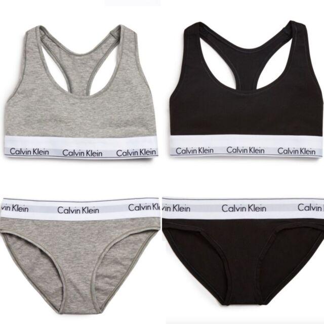 Calvin Klein Womens Underwear Bralette Brief Set Racerback Grey Black
