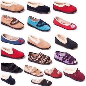 Da-Donna-Padders-Pantofole-Mocassini-MULE-Beige-Blu-Scuro-Rosso-Taglia-3-4-5-6-7-8-9-UK