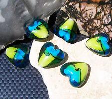 4 große Lampwork Glasperlen Herzen 20 mm blau grün handmade Herzperlen
