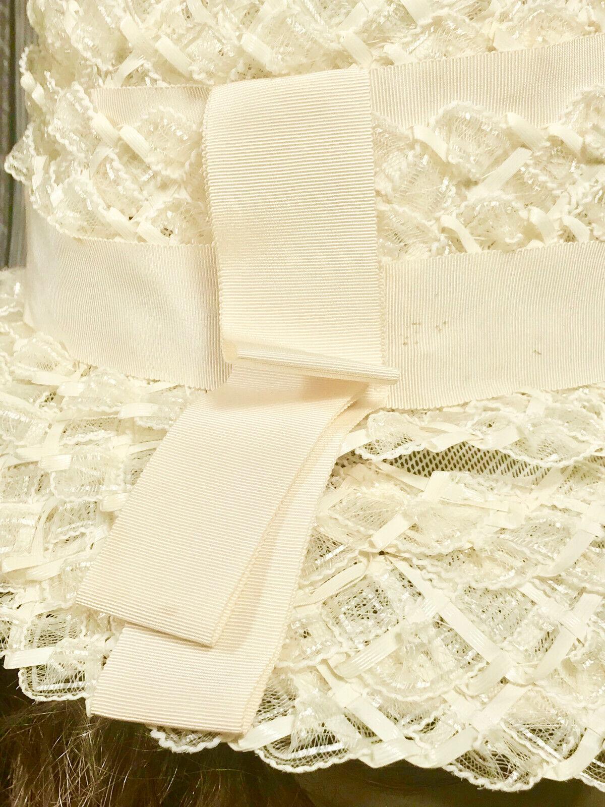 Vintage Ladies Summer Faux Layered Straw W/ Ribbo… - image 5