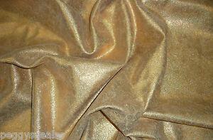 "Metallic Leather 8""x10"" Vintage Crackle Gold Iridescent on beige Calf skin"