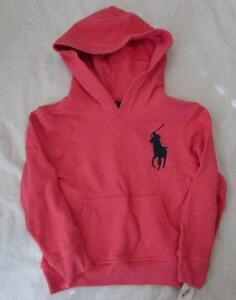 Polo Ralph Lauren boys 7 red napless fleece French terry hoodie big pony NEW