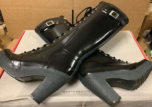 "hunter lapins black 4"" heel platform rubber rain boots us7"