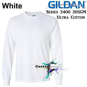 Gildan-Long-Sleeve-T-SHIRT-White-Basic-tee-S-3XL-Men-039-s-Ultra-Cotton-jumper