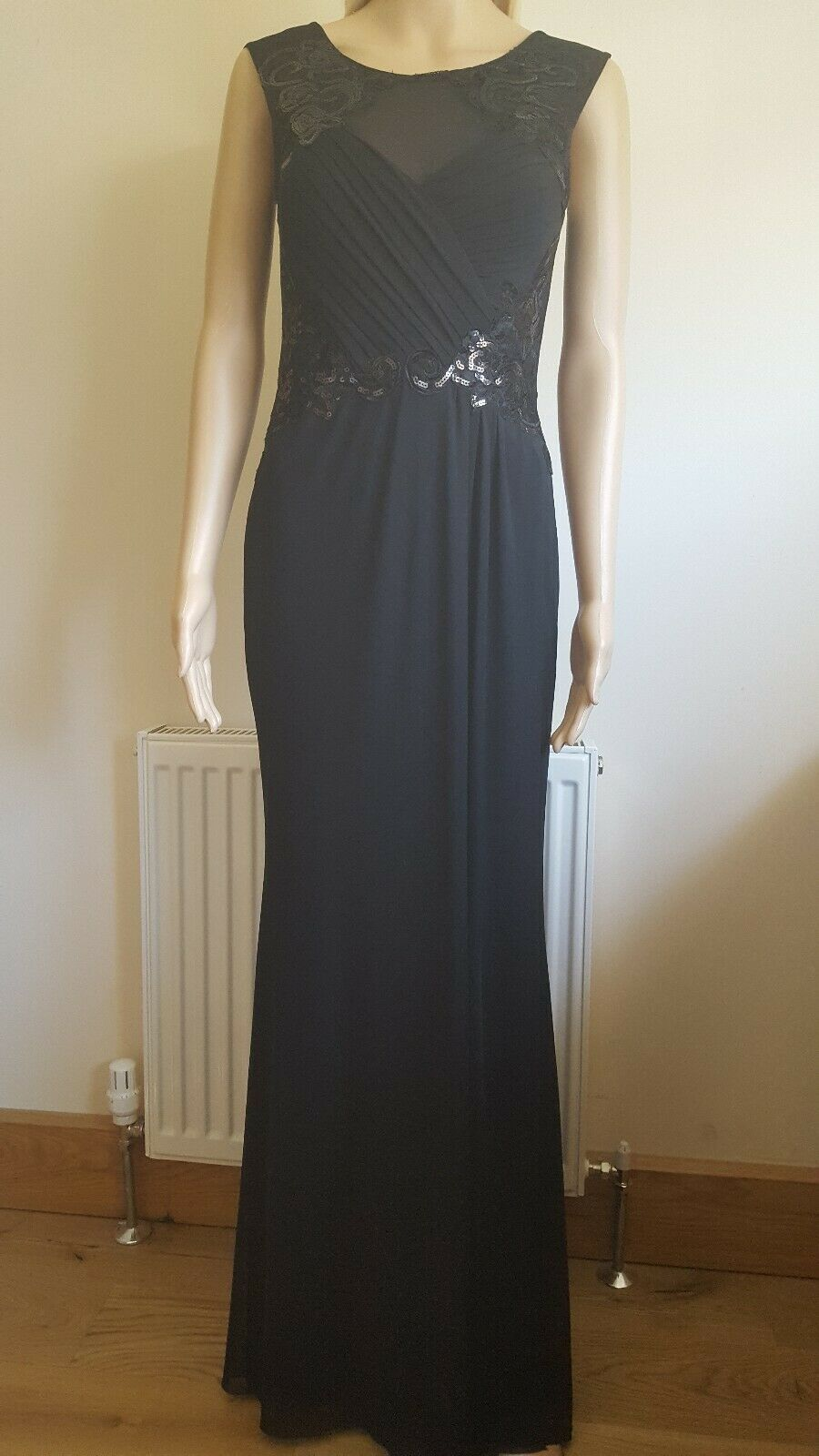 BNWT Lipsy Ruched Sequin Applique Embroidered Mesh Wrap Maxi Dress UK10 RRP