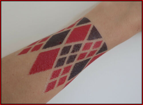 UK Harley Quinn Fancy Dress Face Arm Tattoos Outfit Great for HALLOWEEN Costume