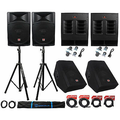 "Rockville PA System w/ 15"" Speakers+18"" Subwoofers+15"" Monitors+Stands+Cables"