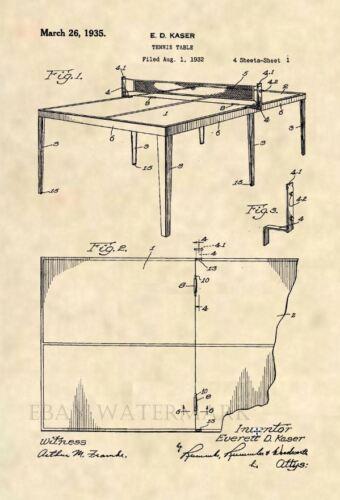 Ping Pong Vintage Antique 174 Original Table Tennis Court US Patent Art Print
