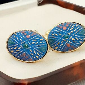 Vintage-1950s-Handpainted-Mosaic-Blue-Glass-Oval-Gold-Plated-Cufflinks