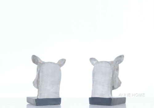 """Rhinoceros Head Bookends Figurine Sculpture Statue 8/"""" African Safari Home Decor"""