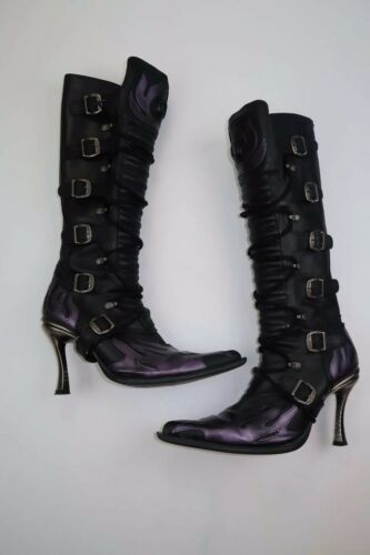 Hot Womens New Rock Purple Flames Leather Boots si